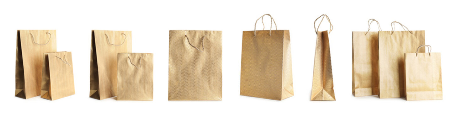 Set of paper shopping bags on white background. Banner design