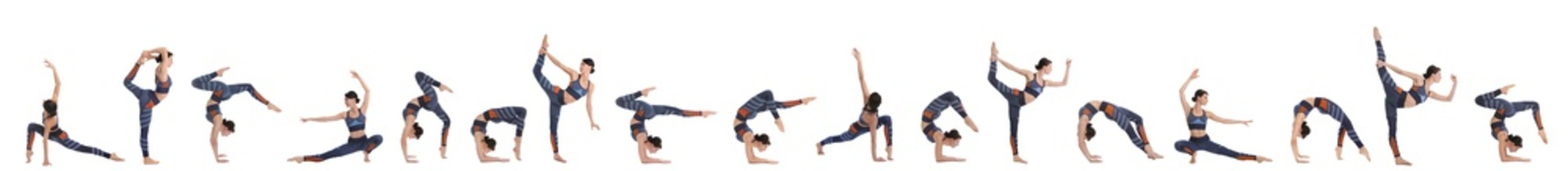 Collage of professional young acrobat exercising on white background. Banner design