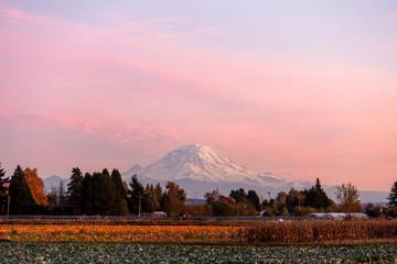 Foto op Plexiglas Lichtroze Mount Rainier Sunset Kent fields pumpkins fall