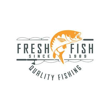 Fishing vector design logo template