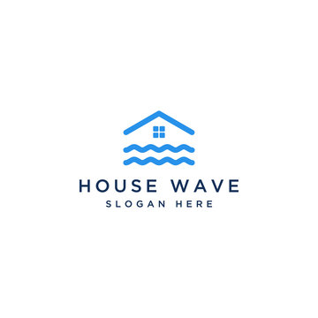 logo design housing or houses with waves