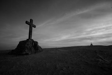 cross on top of mountain