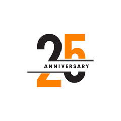 Fototapeta 25th celebrating anniversary emblem logo design vector illustration template obraz