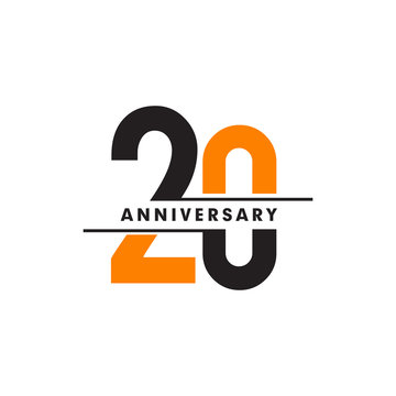 20th celebrating anniversary emblem logo design vector illustration template