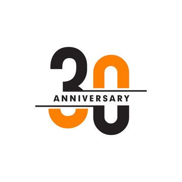 30th celebrating anniversary emblem logo design vector illustration template