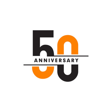 50th celebrating anniversary emblem logo design vector illustration template