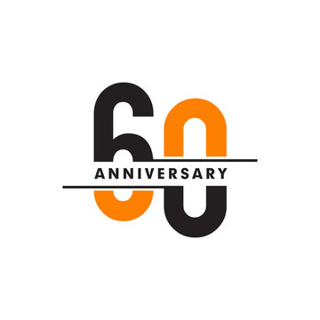 60th celebrating anniversary emblem logo design vector illustration template