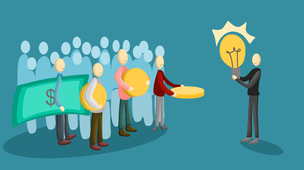 Crowdfunding vector illustration. Fundraising for new innovative idea. Investment for startup. Entrepreneur and contributor sponsorship. flat design