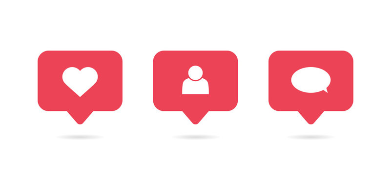 Social media notification icon. Follow, comment, like icon. Vector illustration