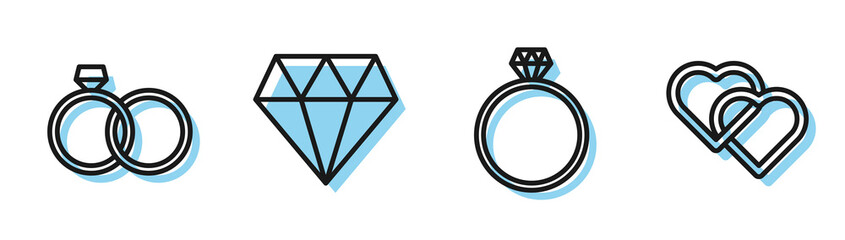 Set line Diamond engagement ring, Wedding rings, Diamond and Two Linked Hearts icon. Vector
