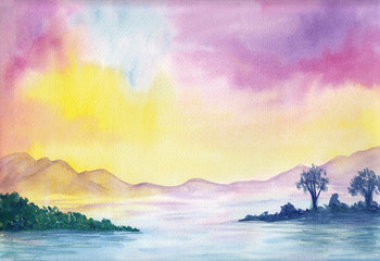 Foto op Aluminium Zwavel geel Watercolor painting of peaceful image of calm landscape with vibrant colorful sunset sky, mountains, sea and green islands. Serenity background. Seascape for calming mind, meditation, relaxation.
