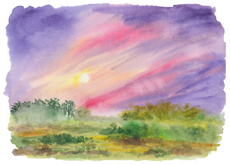 Foto op Canvas Purper Watercolor painting of green misty field with colorful vibrant purple and pink sky. Hand drawn landscape of green scenery with sun. Meditative, relaxation and restoration background. Fine art.