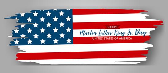 Martin Luther King Day Jr. banner. American flag torn edges design with lettering. Vector illustration.