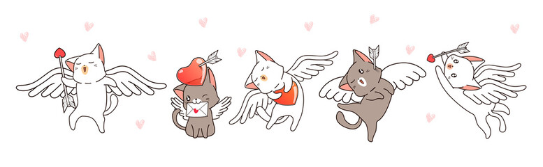 Banner 5 different Cupid cat characters with heart and arrow