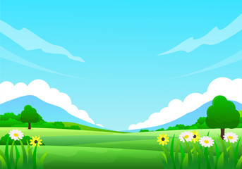 Foto auf Acrylglas Turkis Nature landscape vector illustration with blue sky, flowers and green meadow suitable for summer theme background