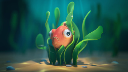 Goldfish hiding underwater in seaweed. Adventures of little funny fish with big eyes in the deep ocean. Underwater caustics in the sand. 3d illustration of the game location of the underwater world