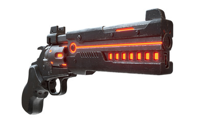 3d illustration of sci-fi futuristic weapon isolated on white background. Science fiction military laser gun. Concept design of high-tech cyberpunk luminous firearm with black color scratched metal