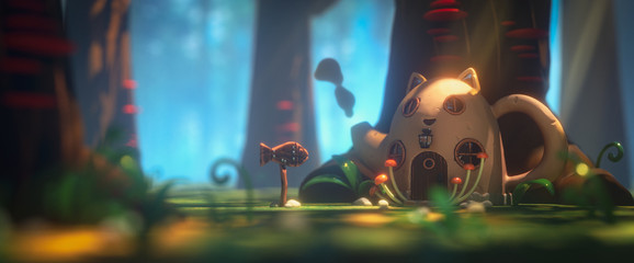 Fairy teapot cat house in magic forest with rays of sunlight. Landscape with mushrooms on trees and path in the forest to a cartoon house with a wooden fish sign. 3d illustration of the game location
