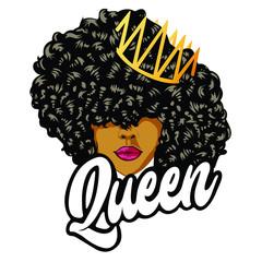 Fototapeta Beautiful girl with curls Queen design - VECTOR obraz