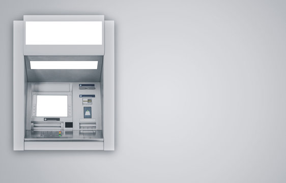 Atm Machine on gray background including clipping path