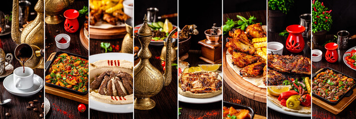 Set of photographs of Arabic and Oriental cuisine. Collage of coffee, hummus, meat. Background image. copy space