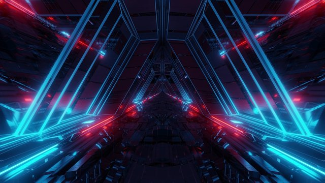 futuristic sci-fi space war ship hangar tunnel corridor with reflective glass windows 3d illustration background wallpaper
