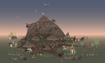 Hordes of cockroaches attack the anthill. Large-scale battle of insects. Vector version in cartoon caricature style.