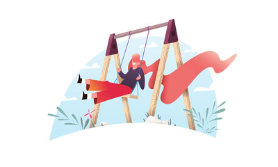 A beautiful female cartoon character with long bright hair is swinging on a swing. Isolated illustration in flat design style.