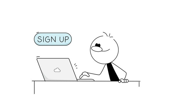 Sign in or sign up, login, registration, the person is ready to press the call to action button.