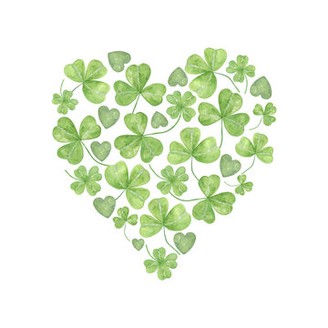 shamrock leaves in the heart shape, a symbol of Ireland and its spring holiday, St Patrick's day