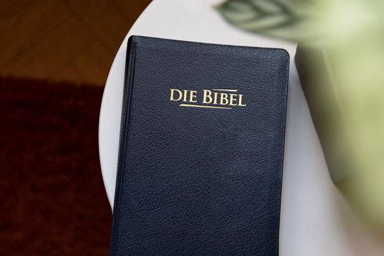 mood bild einer schönen bibel neben einer pflanze