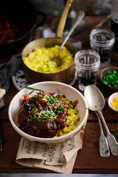 Ossobucco with Milanese risotto.style rustic.
