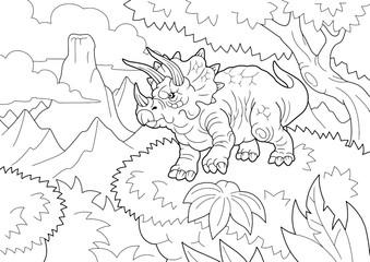cartoon prehistoric dinosaur triceratops, coloring book, funny illustration Wall mural