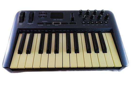USB MIDI Synthesizer Keyboard Controller  on white background