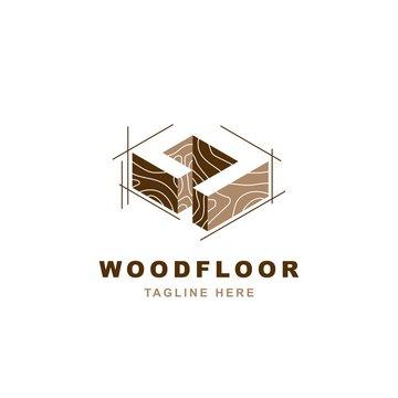 Wood logo  with letter D shape illustration vector design template