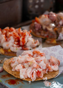 Authentic shrimp tostada of Ensenada best street seafood cart