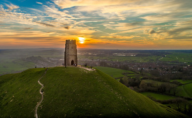 Self adhesive Wall Murals Old building Sunset at Glastonbury Tor