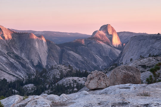 Half-dome from Olmstead Point in Yosemite National Park, California, USA