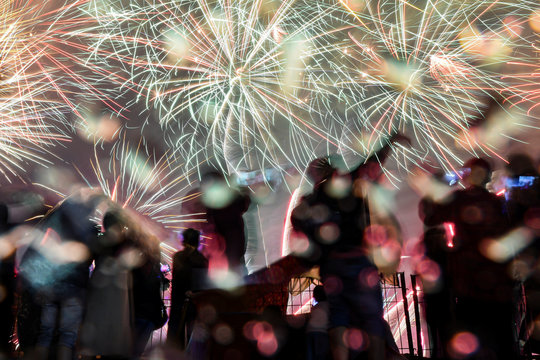 Fireworks explode over Lagoon Beach during New Year's eve celebrations at Ancol in Jakarta