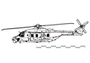 NHIndustries NH90. Vector drawing of military helicopter. Side view. Image for illustration.
