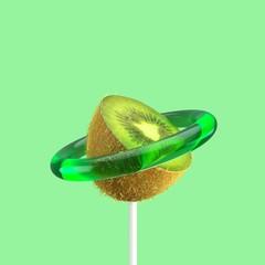 Kiwi Fruit slice Candy Concept idea on green color background. Minimal Fruit idea. 3D Render.