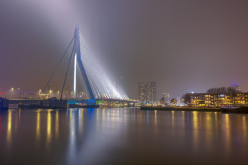 Spoed Fotobehang Rotterdam Rotterdam bridge at night