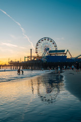 The Santa Monica Pier at sunset, in Los Angeles, California