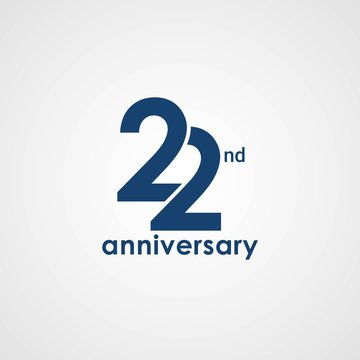 22 Years Anniversary emblem template design with dark blue number style