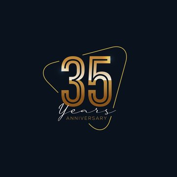 35 Years Anniversary badge with gold style Vector Illustration