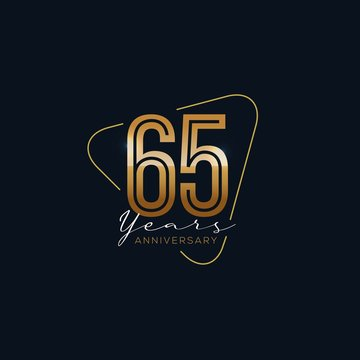 65 Years Anniversary badge with gold style Vector Illustration
