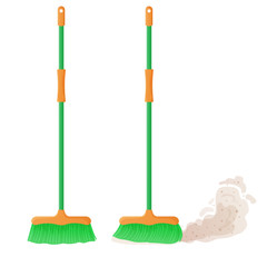 Cartoon plastic broom set. A broom sweeps dust and dirt. Housework, cleaning services, household,concept. Equipment, tools for cleaning element isolated on white background. Stock vector illustration.