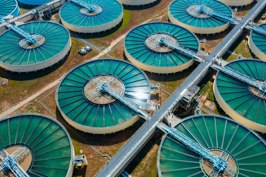 Drinking Water Treatment aerial top view. Microbiology of drinking water production and distribution