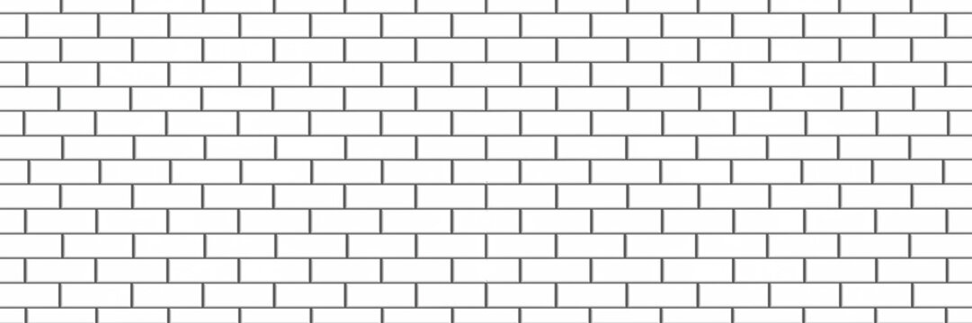 panorama white brick tile wall texture  background