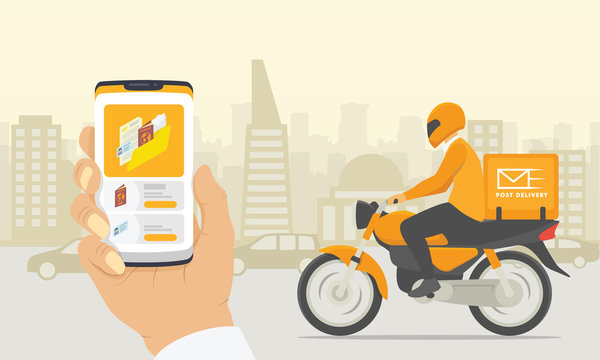 document file transfer delivery with motorcycle and smartphone apps with city background sillhouette - vector